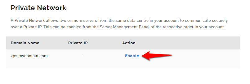 Enabling the Private Network in the VPS Management Panel to get Dedicate IP